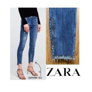 NWT Zara Raw Step Hem Ankle Zipper Skinny Jeans
